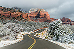 Highway in Sedona, AZ after a snowfall