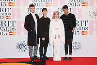 Grace Chatto, Clean Bandit arriving at The Brit Awards 2015 (Brits) held at the O2 - Arrivals, London. 25/02/2015 Picture by: James Smith / Featureflash