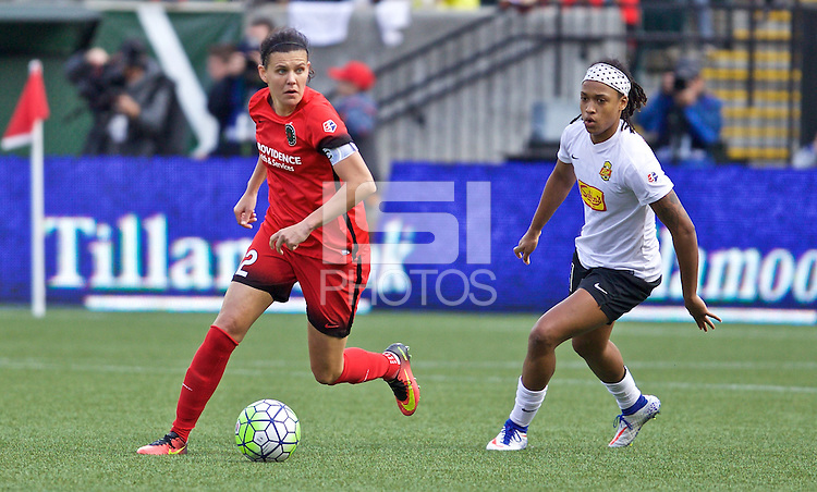 Portland, Oregon - Sunday October 2, 2016: Portland Thorns FC forward Christine Sinclair (12) and Western New York Flash forward Jessica McDonald (14) during a semi final match of the National Women's Soccer League (NWSL) at Providence Park.