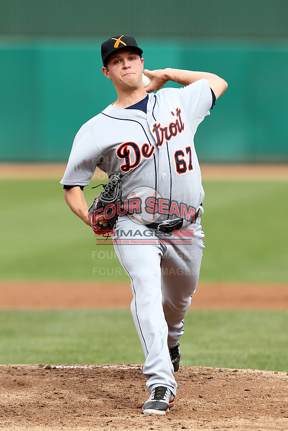 Salt River Rafters pitcher Andrew Oliver #67 during an Arizona Fall League game against the Mesa Solar Sox at HoHoKam Park on November 4, 2011 in Mesa, Arizona.  Mesa defeated Salt River 12-10.  (Mike Janes/Four Seam Images)