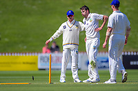 Otago's Jacob Duffy celebrates bowling Wellington's Devon Conway during day two of the Plunket Shield cricket match between the Wellington Firebirds and Otago Volts at the Basin Reserve in Wellington, New Zealand on Tuesday, 22 October 2019. Photo: Dave Lintott / lintottphoto.co.nz