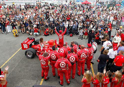 8-10 July, 2011, Toronto, Ontario, Canada<br /> Winner Dario Franchitti celebrates at the podium<br /> (c)2011, Phil Abbott<br /> LAT Photo USA