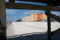 Florida beach and condominiums.  Indian Shores Tampa Bay Area Florida USA