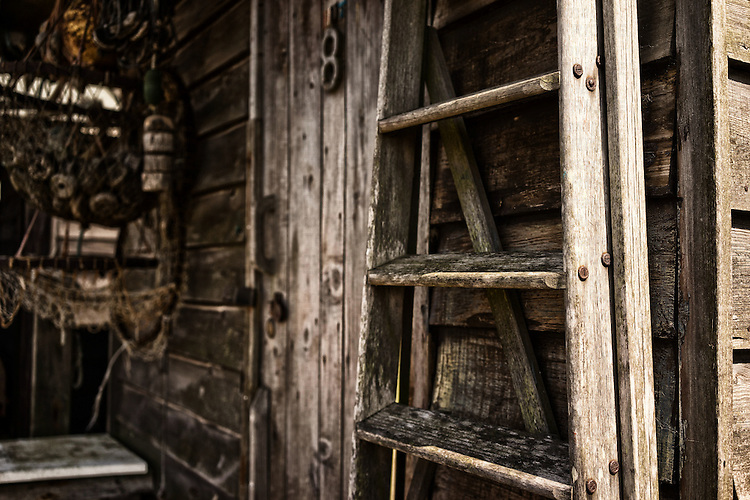 Close up of an old fishermans shed in Bawdsey in Suffolk England