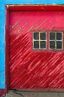 An old garage door in Alamogordo, New Mexico creates a unique design