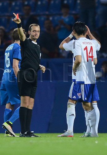 03.06.2016. Volksbank-Stadion, Frankfurt, Germany. International football friendly, Kosovo versus Faroe Islands.   Red Card for Bogi Reinert Petersen Faroe Islands