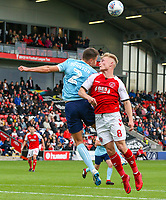 Fleetwood Town's Kyle Dempsey competes in the air with Accrington Stanley's Callum Johnson<br /> <br /> Photographer Alex Dodd/CameraSport<br /> <br /> The EFL Sky Bet League One - Fleetwood Town v Accrington Stanley - Saturday 15th September 2018  - Highbury Stadium - Fleetwood<br /> <br /> World Copyright &copy; 2018 CameraSport. All rights reserved. 43 Linden Ave. Countesthorpe. Leicester. England. LE8 5PG - Tel: +44 (0) 116 277 4147 - admin@camerasport.com - www.camerasport.com