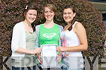 SMILES: Aoife Reylolds (Killorglin) Anita Sayers (Inch) and Sarah Breen (Beaufor) from ISK Killorglin, who were happy with their Leaving Cert results on EWednesday...