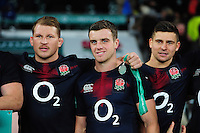 George Ford and the rest of the England team pose for a photo after the match. Old Mutual Wealth Series International match between England and Argentina on November 26, 2016 at Twickenham Stadium in London, England. Photo by: Patrick Khachfe / Onside Images