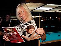 Montreal (Qc) CANADA - Marc 11, 2008 -<br /> Emilie Begin,<br /> a la traditionnelle soirée de la Classique de Billard d'Eric Lapointe le 11 mars 2008 au Boule Noire, sur l'avenue Mont-Royal est.<br /> <br /> Photo (c)  Images Distribution