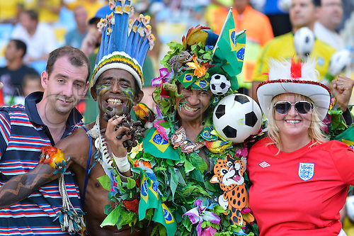 02.06.2013. Maracana Stadium, Rio de Janeiro, Brazil. Fans of England and Brazil. International football friendly and the official opening of the newly refurbished stadium. The score ended at 2-2.