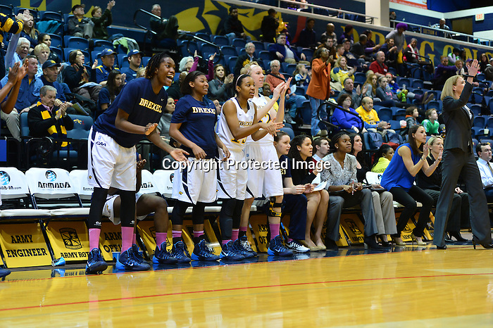 PHILADELPHIA - The upset attempt fell just short for the Drexel women's basketball team on Sunday evening, as the Dragons fell to first-place James Madison, 69-58. The Dragons were within four midway through the second half, but the Dukes, who remain undefeated in the Colonial Athletic Association, went on a 12-2 run to effectively put the game out of reach.<br /> <br /> Fiona Flanagan had 14 points for the Dragons (12-12, 7-4), including 11 in the second half. Meghan Creighton added 10 points, as did Tory Thierolf. For Thierolf, it was her third-career double-digit scoring game, all of which have come this season. James Madison (21-4, 11-0) was led by Jazmon Gwathmey's 16 points.<br /> <br /> For a little while, it appeared that the Dukes might be able to pull away from Drexel early. After Thierolf nailed a three-pointer to make it a 13-10 Madison lead with 14:36 remaining in the first half, the Dukes scored the game's next 13 points, pulling ahead 26-10 before a Flanagan free throw stemmed the tide at the 8:01 mark. It would be another 2:33 before Drexel got its next field goal, an Abby Redick juper to make it 29-13. Redick finished with six points and seven assists, a game high.<br /> <br /> That Redick jumper started a counter-run by the Dragons. Jamila Thompson came off the bench and took over the low post late in the first half, scoring six quick points as the Dragons had the lead down to seven with 44 seconds remaining. A Kirby Burkholder three-pointer got the Dukes' lead back up to 10, but Drexel made it an eight-point game at the break after Meghan Creighton ripped a rebound out of a James Madison player's hands, then streaked up the court and was fouled. She hit both free throws for the last points of the half, leaving JMU up 34-26.<br /> <br /> Out of halftime, Drexel kept charging. Thierolf, Flanagan and Rachel Pearson worked their way inside for easy buckets that had the James Madison lead down to six at 38-32 just over three minutes into the period.