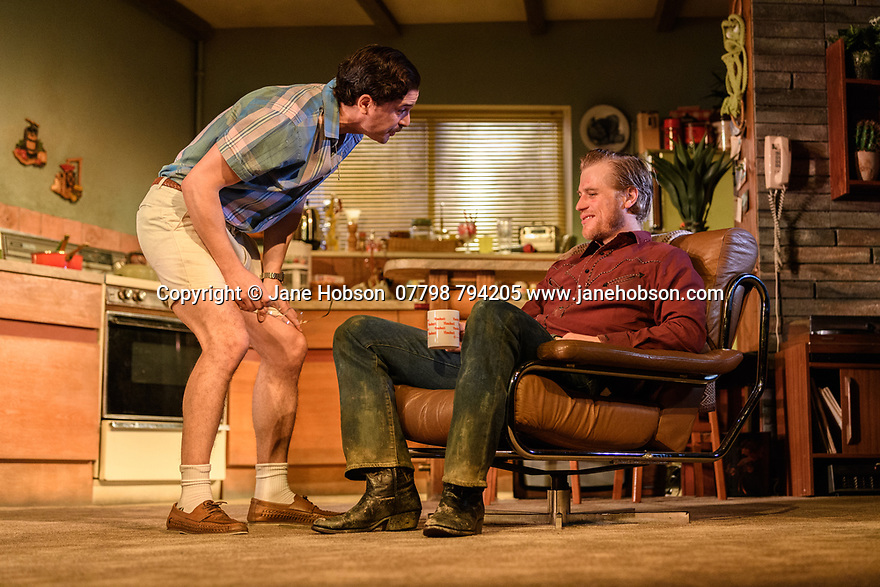 """London, UK. 29.11.2018. The first UK production, since the death of playwright Sam Shepard's play """"True West"""", opens at the Vaudeville Theatre, directed by Matthew Dunster. Kit Harington and Johnny Flynn star, as brothers Austin and Lee, with Madeleine Potter and Donald Sage Mackay completing the cast. Picture shows: Kit Harington (Austin) and Johnny Flynn (Lee). Photograph © Jane Hobson."""