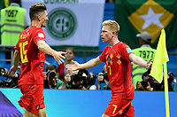 KAZAN - RUSIA, 06-07-2018: Kevin DE BRUYNE (Der) jugador de Bélgica celebra con Thomas MEUNIER después de anotar el segundo gol de su equipo a Brasil durante partido de cuartos de final por la Copa Mundial de la FIFA Rusia 2018 jugado en el estadio Kazan Arena en Kazán, Rusia. / Kevin DE BRUYNE (R) player of Belgium celebrates with Thomas MEUNIER after scoring the second goal of his team to Brazil during match of quarter final for the FIFA World Cup Russia 2018 played at Kazan Arena stadium in Kazan, Russia. Photo: VizzorImage / Julian Medina / Cont