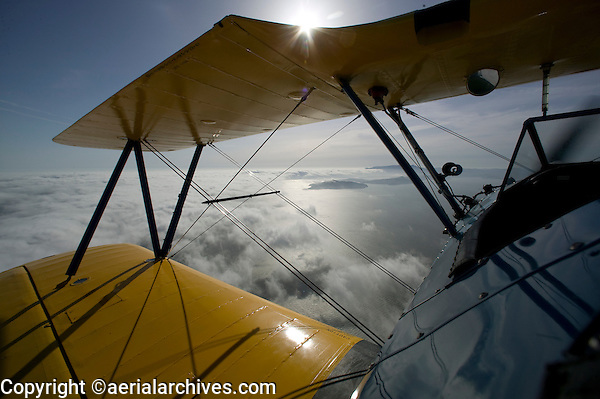 aerial photograph view of San Francisco Bay from Stearman biplane cockpit