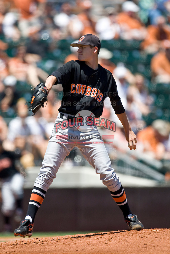 Oklahoma State  starting pitcher Andrew Heaney against the Texas Longhorns on Sunday April 25th, 2010 at UFCU Dish-Falk Field in Austin, Texas.  (Photo by Andrew Woolley / Four Seam Images)