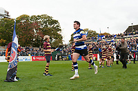 Freddie Burns of Bath Rugby runs out onto the field on the occasion of his starting debut for the club. Aviva Premiership match, between Bath Rugby and Worcester Warriors on October 7, 2017 at the Recreation Ground in Bath, England. Photo by: Patrick Khachfe / Onside Images