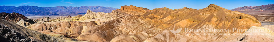 United States, California, Death Valley. Zabriskie Point is a part of Amargosa Range located in east of Death Valley, noted for its erosional landscape. Panoramic view.