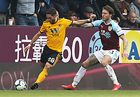 Wolverhampton Wanderers' Joao Moutinho under pressure from Burnley's Jeff Hendrick<br /> <br /> Photographer Rich Linley/CameraSport<br /> <br /> The Premier League - Burnley v Wolverhampton Wanderers - Saturday 30th March 2019 - Turf Moor - Burnley<br /> <br /> World Copyright © 2019 CameraSport. All rights reserved. 43 Linden Ave. Countesthorpe. Leicester. England. LE8 5PG - Tel: +44 (0) 116 277 4147 - admin@camerasport.com - www.camerasport.com