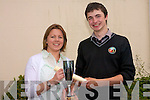 Gaelcholaiste Chiarrai student Ciaran O' Muircheartaigh who won a bronze award at the Linguistics Olympics in DCU pictured with teacher, Deirdre Ni Chochlain