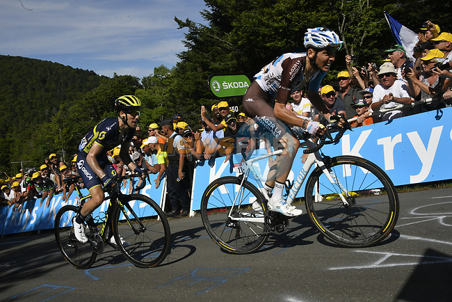 Romain Bardet (FRA) AG2R La Mondiale and Simon Yates (GBR) Orica-Scott on La Planche des Belles Filles near the end of Stage 5 of the 104th edition of the Tour de France 2017, running 160.5km from Vittel to La Planche des Belles Filles, France. 5th July 2017.<br /> Picture: ASO/Bruno Bade | Cyclefile<br /> <br /> <br /> All photos usage must carry mandatory copyright credit (&copy; Cyclefile | ASO/Bruno Bade)