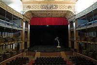 Empty stage inside the historic Teatro Tomas Terry, Cienfuegos, Cuba.