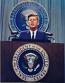 In this undated file photo, United States President John F. Kennedy holds a press conference..Credit: Arnie Sachs / CNP