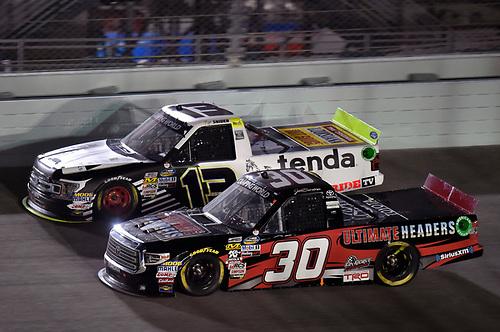 #30: Jeb Burton, On Point Motorsports, Toyota Tundra Ultimate Headers and #13: Myatt Snider, ThorSport Racing, Ford F-150