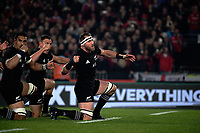 Kieran Read performs the haka before the 2017 DHL Lions Series rugby union 3rd test match between the NZ All Blacks and British & Irish Lions at Eden Park in Auckland, New Zealand on Saturday, 8 July 2017. Photo: Dave Lintott / lintottphoto.co.nz