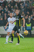 Sunday  14th   December 2014 <br /> Pictured:  Jazz Richards of Swansea tries to tackle Harry Kane of Tottenham Hotspur  <br /> Re: Barclays Premier League Swansea City v Tottenham Hotspur  at the Liberty Stadium, Swansea, Wales,UK