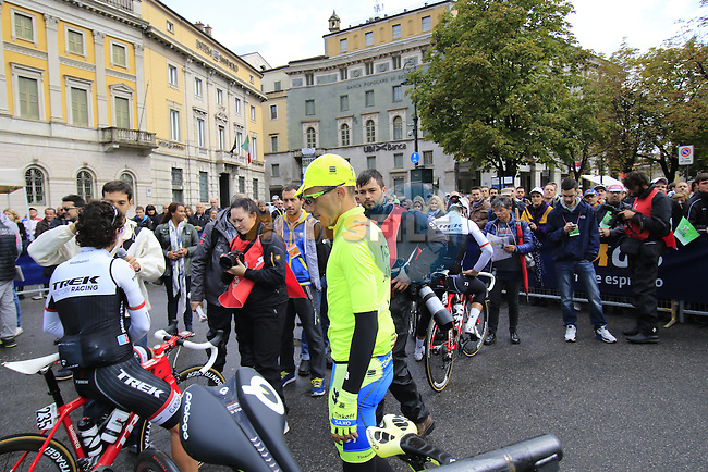 Rafal Majka (POL) Tinkoff-Saxo arrives at sign on for the start of the last classic of the season Il Lombardia 2015 running 245km from Bergamo to Como, Italy. 4th October 2015.<br /> Picture: Eoin Clarke | Newsfile