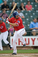 Thirdbaseman Brian Barden #9 of the Round Rock Express at bat against the Oklahoma City RedHawks on April 26, 2011 at the Dell Diamond in Round Rock, Texas. (Photo by Andrew Woolley / Four Seam Images)