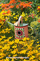 63821-205.11 Watering can birdhouse  in garden with Threadleaf Coreopsis (Coreopsis verticillata 'Golden Showers' Common Rue (Ruta graveolens) and Butterfly Milkweed (Asclepias tuberosa)  Marion Co. IL