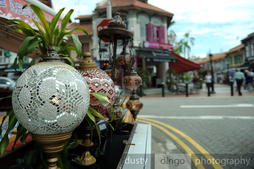 Fine Turkish glassware lamps on display outside shops in Arab Street, Singapore