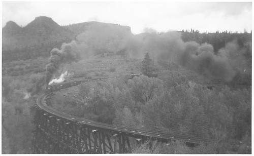 RGS freight train crossing trestle 160-A.<br /> RGS  Franklin Junction, CO