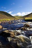 Clunie Water River in Glen Clunie, Perthshire, Scotland, United Kingdom
