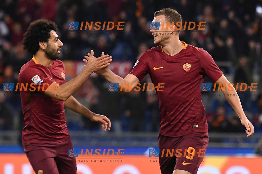 Esultanza Gol Edin Dzeko Roma Goal celebration 3-1 with Mohamed Salah <br /> Roma 19-03-2017 Stadio Olimpico Football Calcio Serie A 2016/2017 AS Roma - Sassuolo Foto Andrea Staccioli / Insidefoto