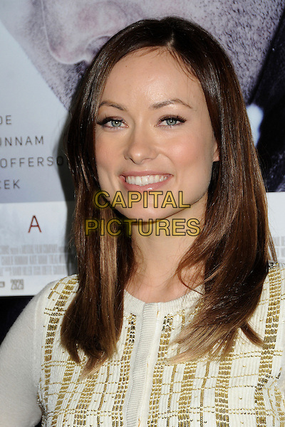 """Olivia Wilde.Attending the """"Deadfall"""" Los Angeles Premiere held at Arclight Cinemas, Hollywood, California, USA, .29th November 2012..portrait headshot smiling gold white cream cardigan knit .CAP/ADM/BP.©Byron Purvis/AdMedia/Capital Pictures."""