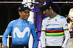 Nairo Quintana (COL) and World Champion Alejandro Valverde (ESP) Movistar Team at the team presentation held on the Grand-Place before the 2019 Tour de France starting in Brussels, Belgium. 4th July 2019<br /> Picture: Colin Flockton | Cyclefile<br /> All photos usage must carry mandatory copyright credit (© Cyclefile | Colin Flockton)