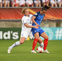 20170718 - TILBURG , NETHERLANDS : French Clarisse Le Bihan (R) and Iceland's Glodis Viggosdottir (L) pictured during the female soccer game between France and Iceland  , the frist game in group C at the Women's Euro 2017 , European Championship in The Netherlands 2017 , Tuesday 18 th June 2017 at Stadion Koning Willem II  in Tilburg , The Netherlands PHOTO SPORTPIX.BE | DIRK VUYLSTEKE