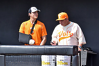 Tennessee Volunteers pitcher Kyle Serrano (11) and head coach Dave Serrano (18) before game one of a double header against the UC Irvine Anteaters at Lindsey Nelson Stadium on March 12, 2016 in Knoxville, Tennessee. The Volunteers defeated the Anteaters 14-4. (Tony Farlow/Four Seam Images)