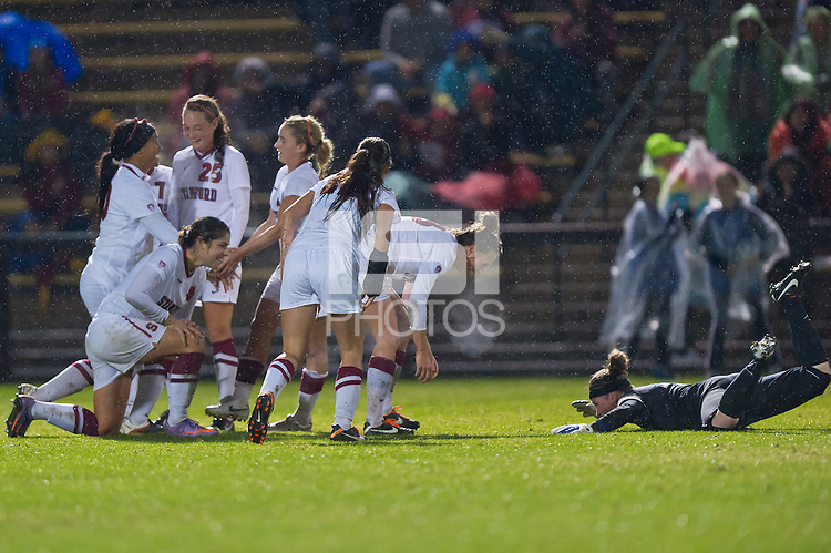 STANFORD, CA - NOVEMBER 11: Mariah Nogueira celebrates her goal with teammates as Stanford defeats Montana 3-0 in the first round of the NCAA women's soccer tournament on November 11, 2011 in Stanford, California.