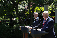 US President Donald J. Trump (R) with Polish President Andrzej Duda (L) during a joint press conference in the Rose Garden of the White House in Washington, DC, USA, 12 June 2019. Earlier President Trump and President Duda signed an agreement to increase military to military cooperation including the purchase of F-35 fighter jets by Poland and an increased US troop presence in Poland. <br /> Credit: Shawn Thew / Pool via CNP/AdMedia