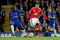 Henrikh Mkhitaryan of Manchester United in action as Chelsea's N'Golo Kante looks on during Chelsea vs Manchester United, Premier League Football at Stamford Bridge on 5th November 2017