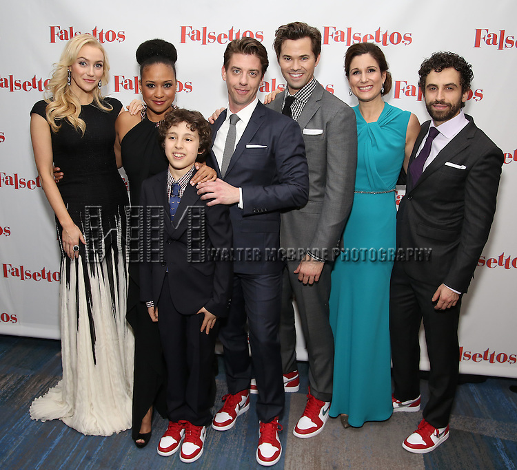 Betsy Wolfe, Tracie Thoms, Anthony Rosenthal, Christian Borle, Andrew Rannells, Stephanie J. Block and Brandon Uranowitz attends the Opening Night After Party for 'Falsettos'  at the New York Hilton Hotel on October 27, 2016 in New York City.