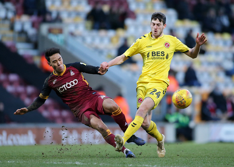 Fleetwood Town's Ashley Nadesan is tackled by Bradford City's Adam Chicksen<br /> <br /> Photographer David Shipman/CameraSport<br /> <br /> The EFL Sky Bet League One - Bradford City v Fleetwood Town - Saturday 9th February 2019 - Valley Parade - Bradford<br /> <br /> World Copyright &copy; 2019 CameraSport. All rights reserved. 43 Linden Ave. Countesthorpe. Leicester. England. LE8 5PG - Tel: +44 (0) 116 277 4147 - admin@camerasport.com - www.camerasport.com