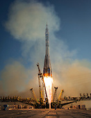 The Soyuz TMA-11M rocket is launched with Expedition 38 Soyuz Commander Mikhail Tyurin of Roscosmos, Flight Engineer Rick Mastracchio of NASA and Flight Engineer Koichi Wakata of the Japan Aerospace Exploration Agency onboard, Thursday, Nov. 7, 2013, at the Baikonur Cosmodrome in Kazakhstan. Tyurin, Mastracchio, and, Wakata will spend the next six months aboard the International Space Station.  <br /> Mandatory Credit: Bill Ingalls / NASA via CNP