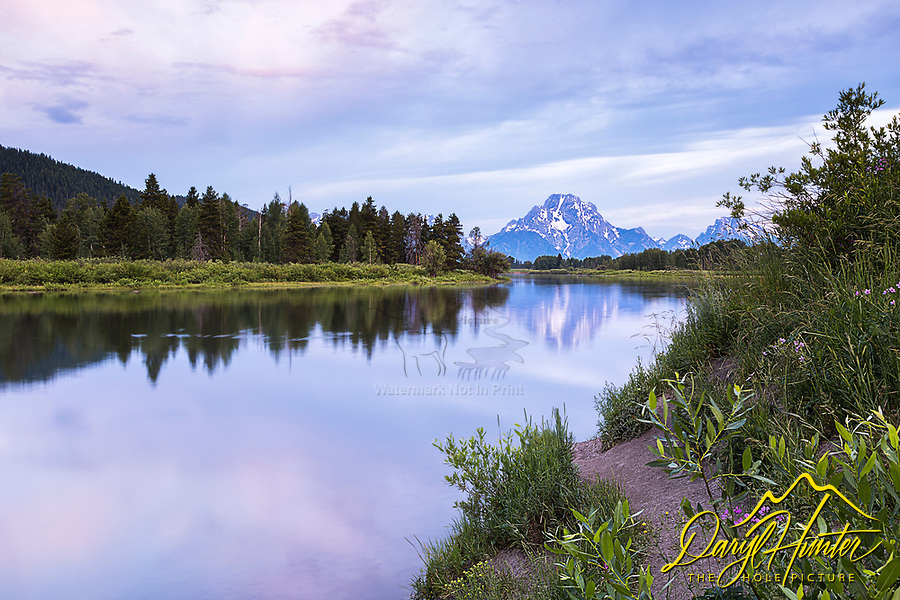 A pretty morning at Jackson Hole's reflection pond, the Oxbow Bend in Grand Teton National Park.