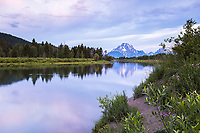 A pretty morning at Jackson Hole's reflection pond, the Oxbow Bend in Grand Teton National Park.<br />