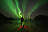 Photographer Photographing northern lights - aurora borealis at Vik beach, Vestvågøy, Lofoten Islands, Norway